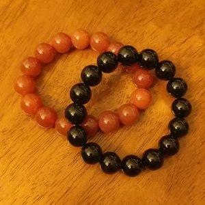 Jewelry - Beaded Bracelet Set (black and amber/orange)